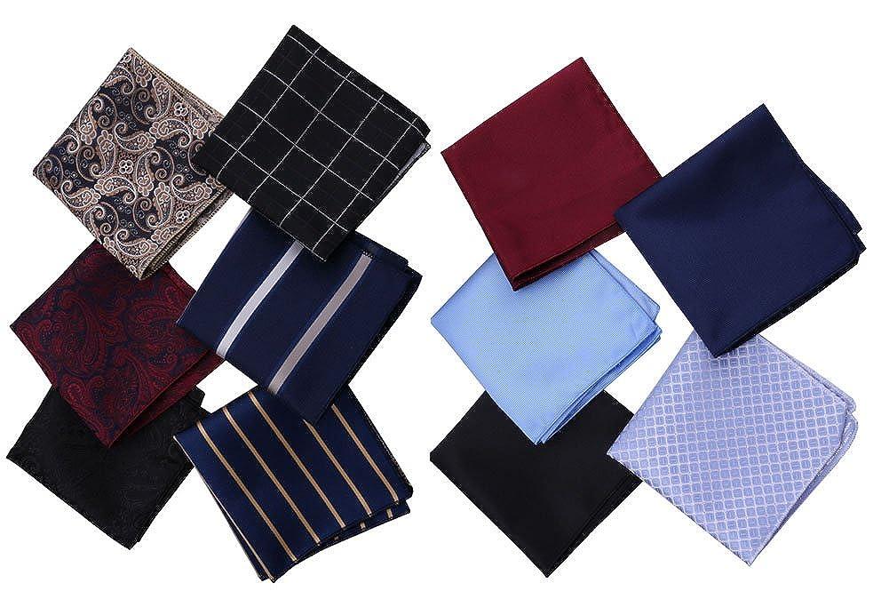Driew Men's Pocket Square Retro Pattern Handkerchief 11 Pics/Set