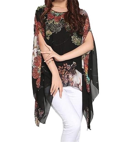 06827e38ae iNewbetter Women's Chiffon Boho Tunic Top Batwing Blouse Loose Beachwear Cover  Up Shirt Black at Amazon Women's Clothing store: