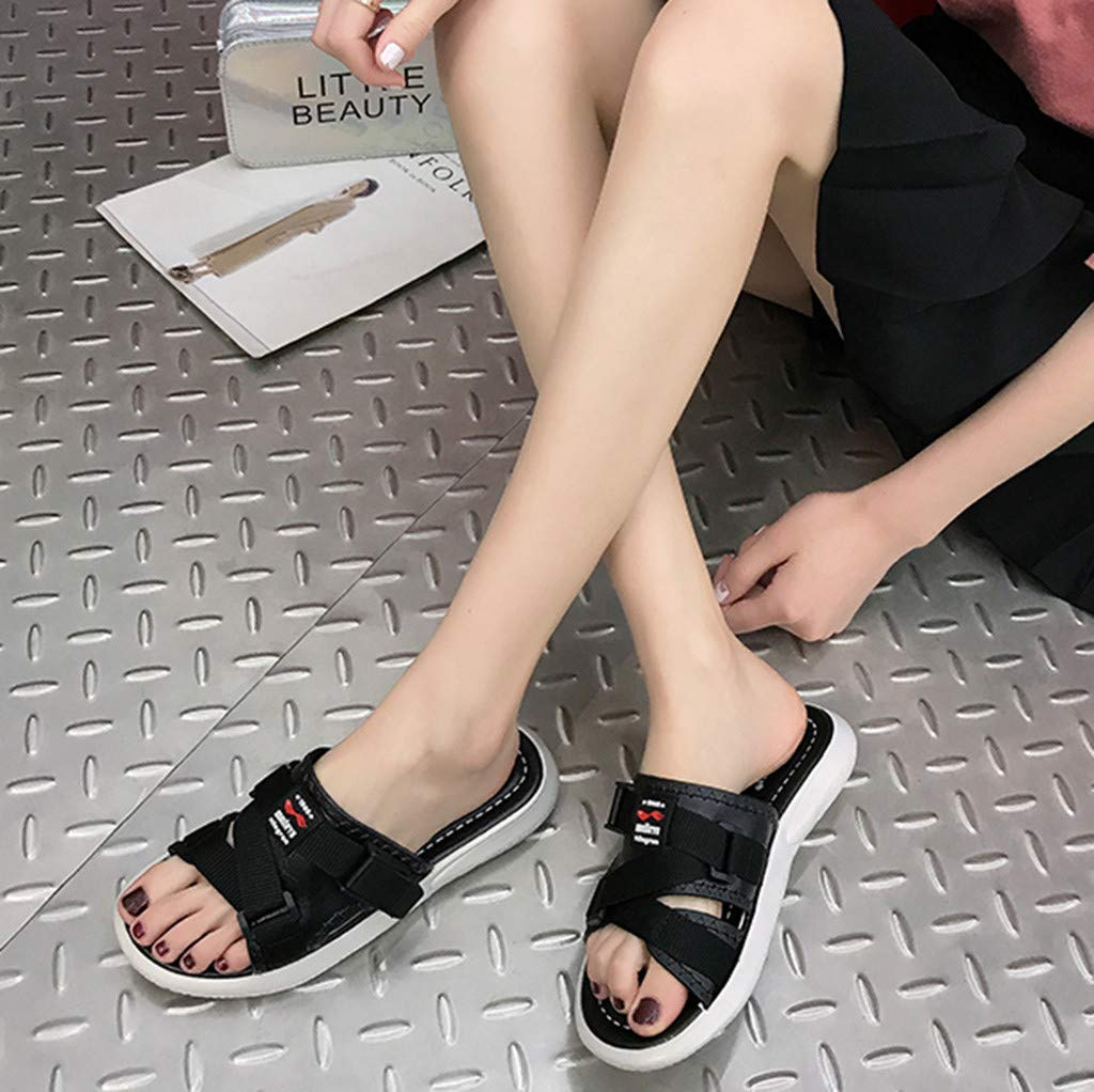AOJIAN Shoes Women's Sandals Fashion Buckle Beach Flip Flop Slide Slipper Clog Mule Black by AOJIAN Shoes (Image #2)