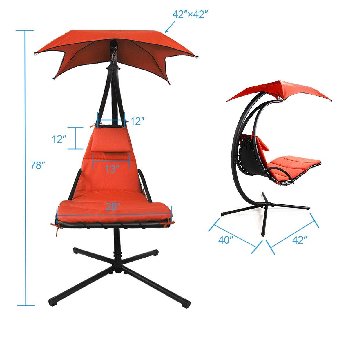 Sandinrayli Hanging Lounger Chaise Porch Swing Hammock Chair Arc Stand Cushion Sun Canopy Orange