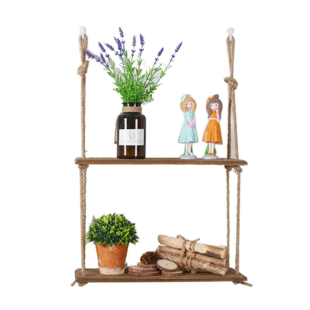 Floating Shelves - 2 Tiers Wood Wall Shelf With Hemp Rope Shelves Wall Hanging for Living Room as Bookshelf Storage Rack Wall Decorations Design