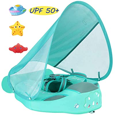 V Convey Size Improved Add Tail Never Flip Over Mambobaby 2020 Newest Non-Inflatable Float Swim Trainer Relaxing Baby Float Infant Pool Float with Canopy Solid Waist Swimming Ring Sunshade: Toys & Games [5Bkhe1203777]