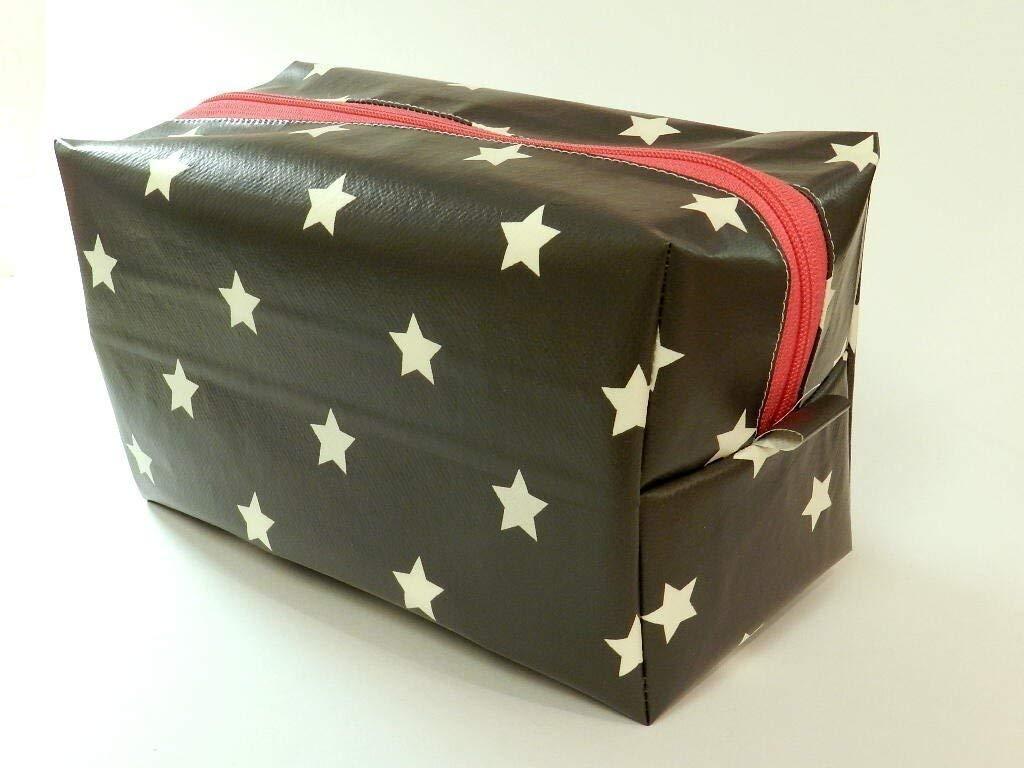 Kulturbeutel aus Wachstuch - STERNE AUF GRAU - mit Reißverschluss - PINK - Kulturtasche - Tasche / Beutel für Shampoo, Kosmetik, Zahnbürste, Deo - Waschbeutel / Toilettenbeutel / Kultur-Tasche / Kultur-Beutel - Geschenk Weihnachten Geburtstag Muttertag Ost