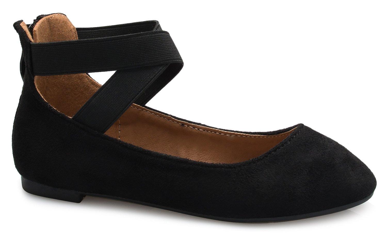 OLIVIA K Girls Elastic Cross Strap Slip On Sandal - Comfortable Closed Toe Ballet Flats - Low Ankle Strap Shoe