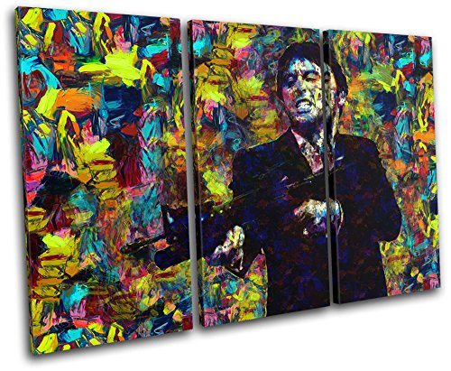 (Bold Bloc Design - Scarface Movie Pop Iconic Celebrities 120x80cm TREBLE Canvas Art Print Box Framed Picture Wall Hanging - Hand Made In The UK - Framed And Ready To Hang)