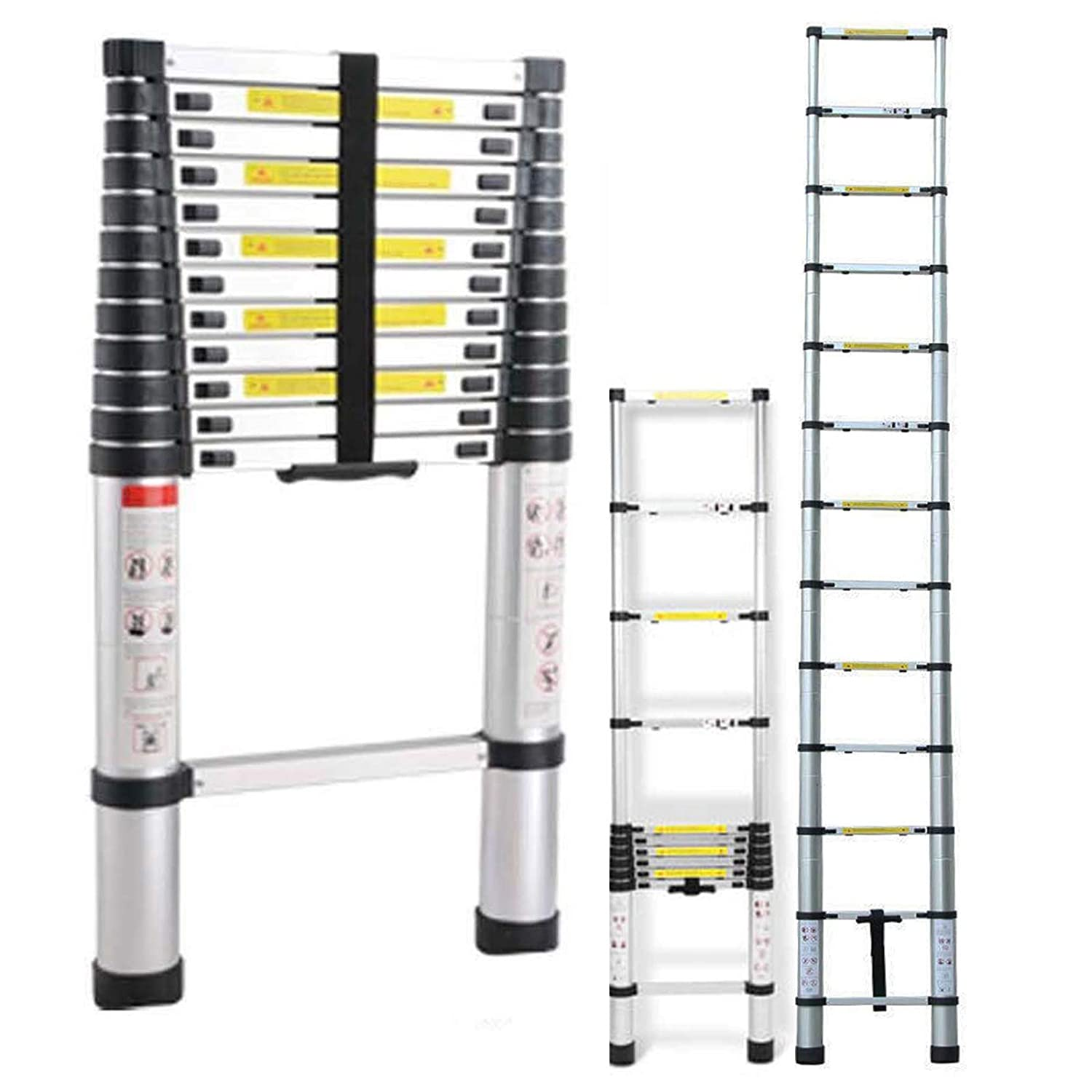 Aluminum Collapsible Ladder Extension 12.5ft Telescoping Climb Adjustable Folding Tools 13Steps Max.330lbs, for Household Home Warehouse Indoor Multi-Function DICN Factory