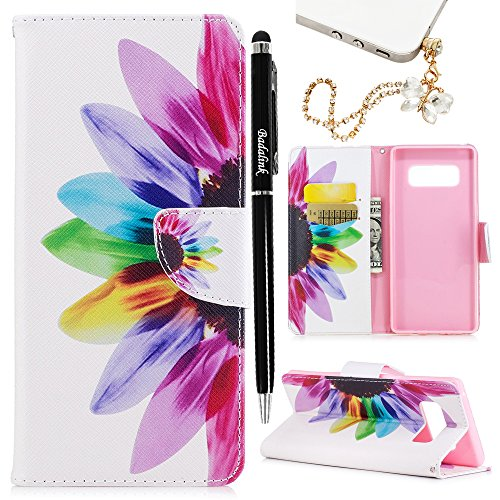 Note 8 Case, Flip Book Style Wallet Case Painting Premium PU Leather Kickstand Cover Shockproof Magnetic Soft TPU Interior Shell with Dust Plug & Stylus for Samsung Galaxy Note 8 by Badalink - Flower