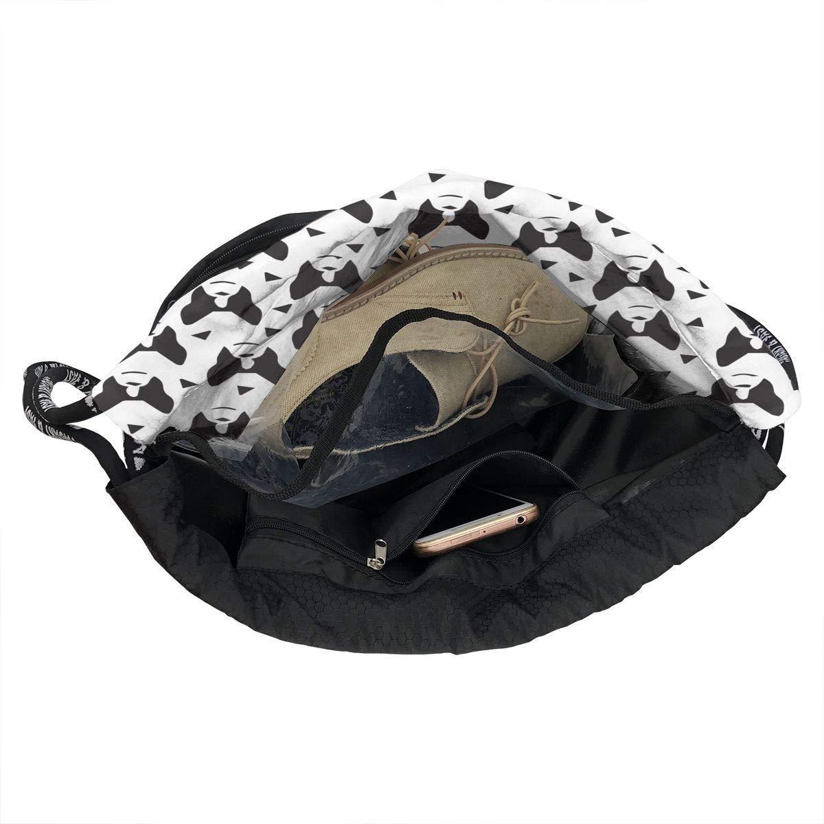 HUOPR5Q Boston Terrier Dog Drawstring Backpack Sport Gym Sack Shoulder Bulk Bag Dance Bag for School Travel