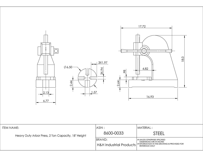 HHIP 8600-0033 Heavy Duty Arbor Press, 2 Ton Capacity, 18'' Height (Pack of 1)