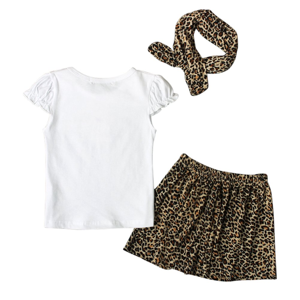 EITC Baby Girl 3psc Kid Clothing Sets Cotton Leopard Dress White Short Sleeves Leopard Headband 0-24 Months