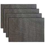 Image of Placemats, Heat-resistant Placemats PVC Placemats Woven Vinyl Placemats Easy-Care Durable Non-slip Table Mats,Set of 4(Black+gold)