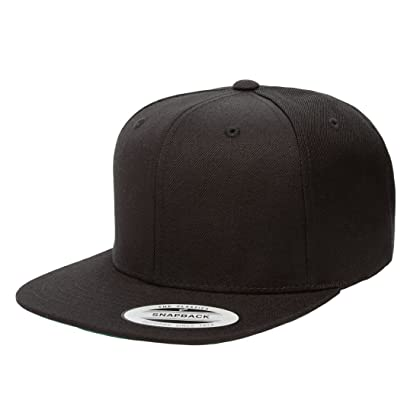6cbd2aff9bc Yupoong 6089M Classic Snapback Pro-Style Wool Cap by Flexfit - One Size  (Black ...