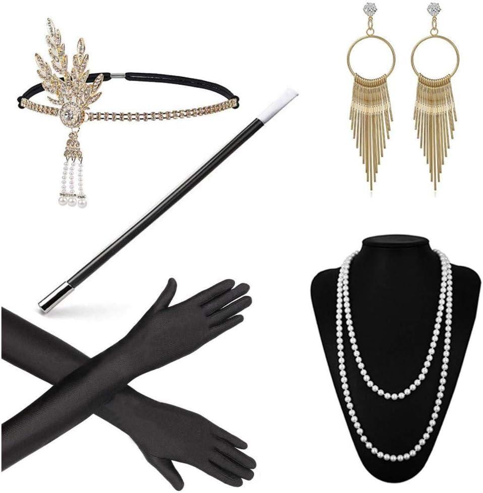 Tinke Disfraz de Aleta de los años 20 Disfraces Accesorios de Gatsby Diadema de Plumas Vintage con Guantes Negros Collar de Perlas Pendientes Vintage Porta Cigarrillos