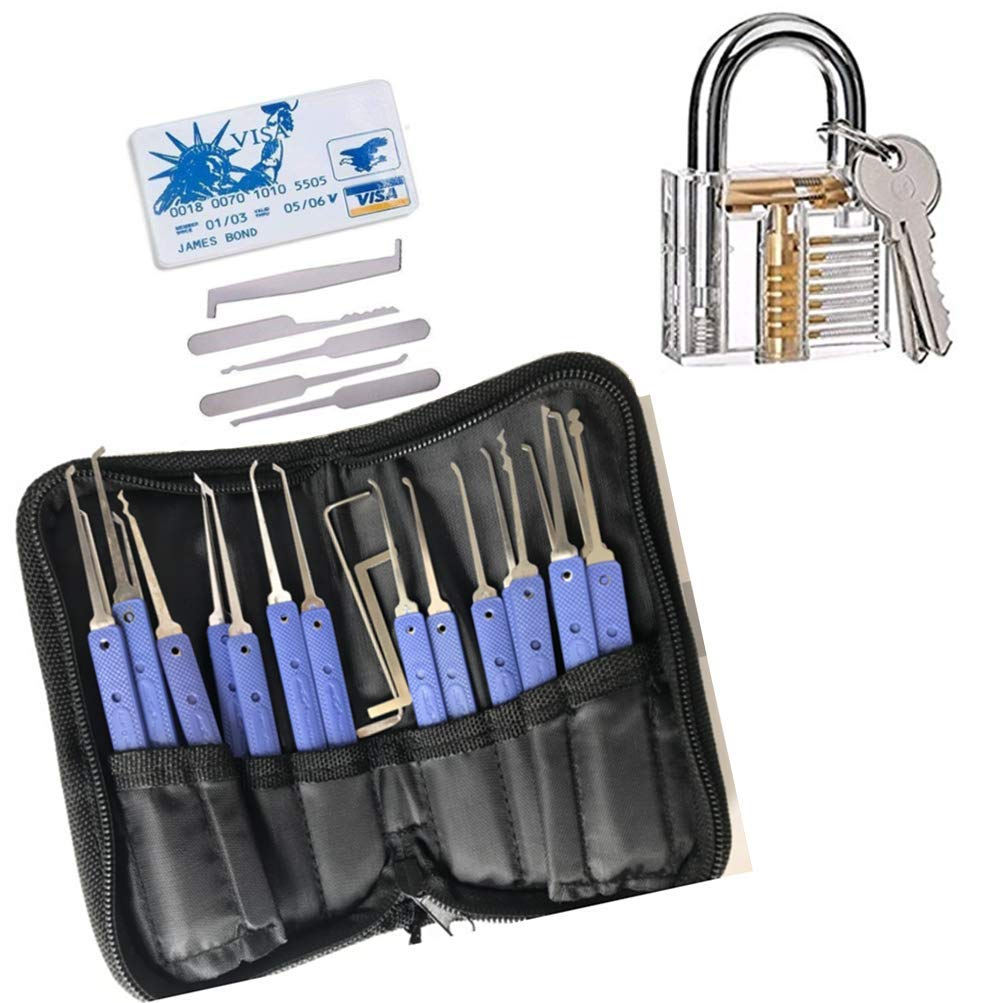 3 Pack Blue Stainless Steel Fun Practical Home Padlock Lock Locksmith Tools Pliers Set Hook Kit