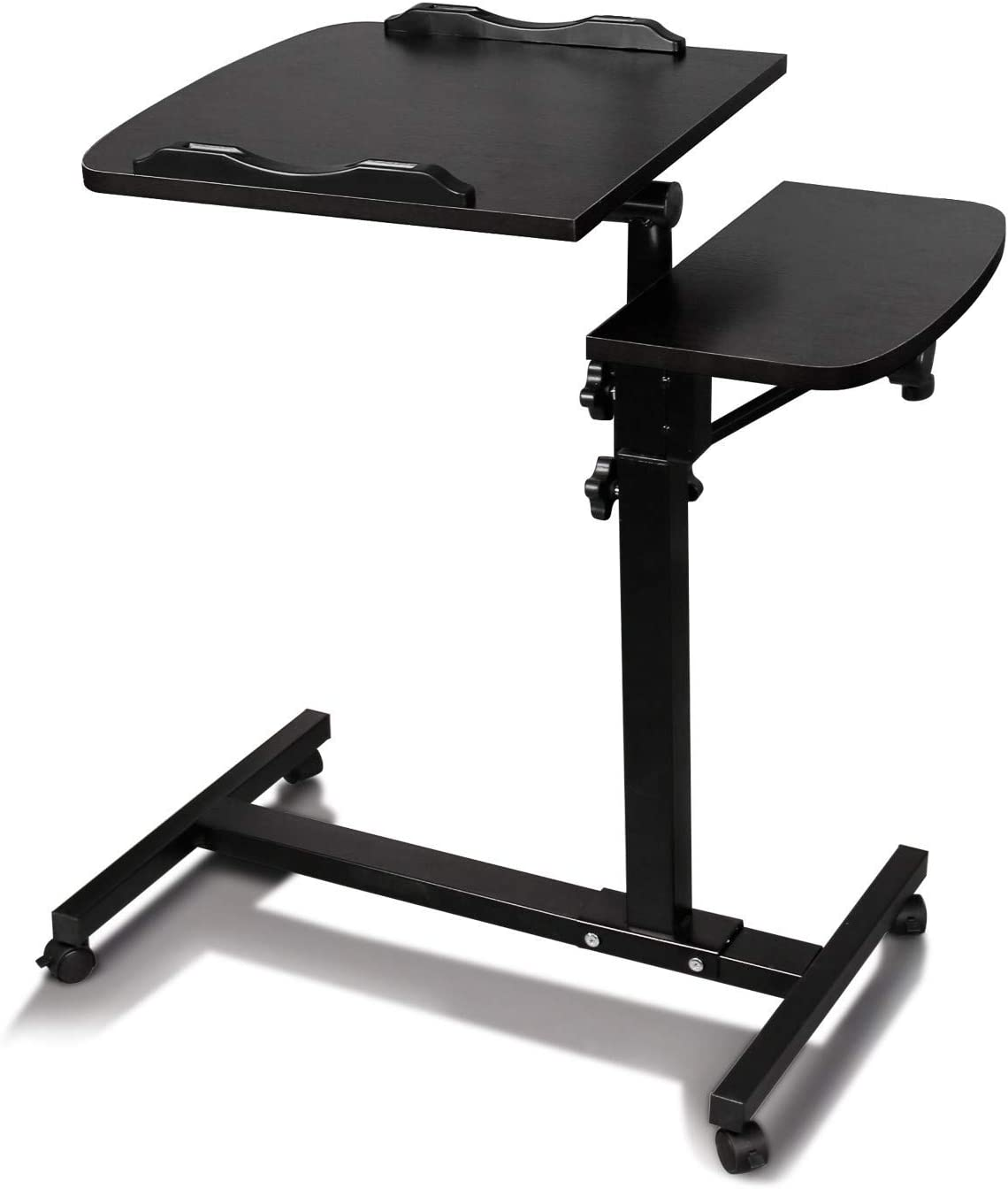 Hunputa Laptop Rolling Cart Table Height Adjustable Mobile Laptop Stand Desk Overbed Bedside Table with Wheels, Tilt Table for Hospital and Home Use