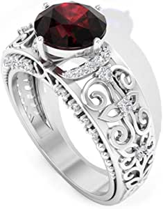 1.45 Ct Solitaire Garnet Engagement Ring, SGL Certified Diamond Bridal Ring, Vintage Filigree Ring with HI-SI Color Clarity Diamond, 14K Gold