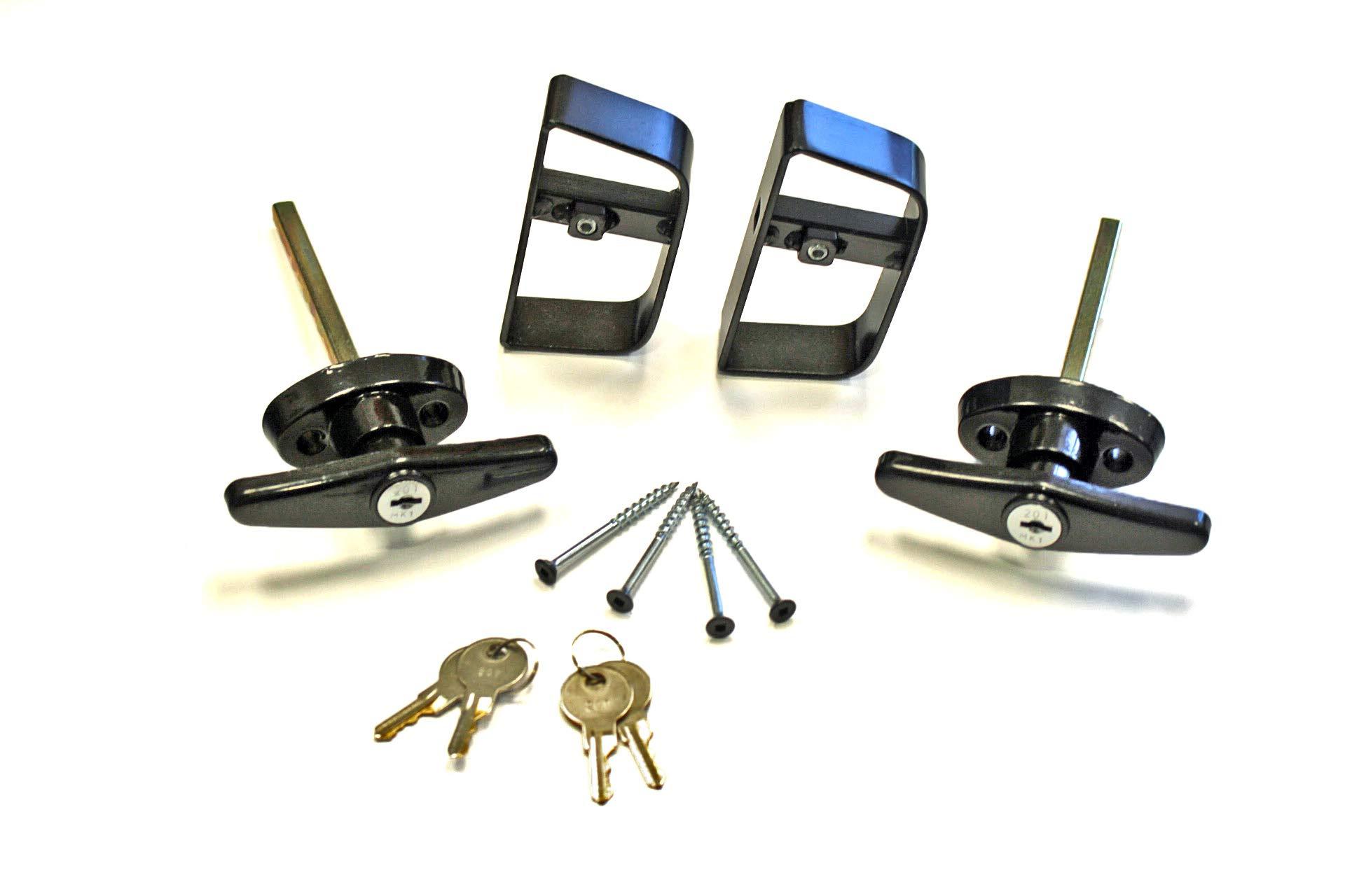 Doors & Door Hardware 4-1/2'' Black T Handle Door Lock Set - For shed, gate, playhouse, (2) KEYED ALIKE