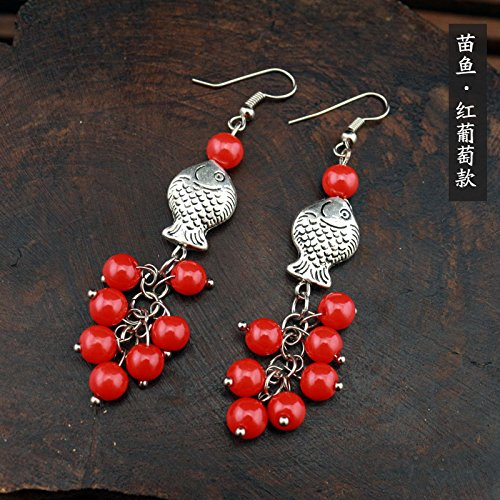 TKHNE The trend shipping Yunnan characteristics Tibetan ethnic style earrings handmade earrings grapes Miao Lijiang tea-horse earrings ()