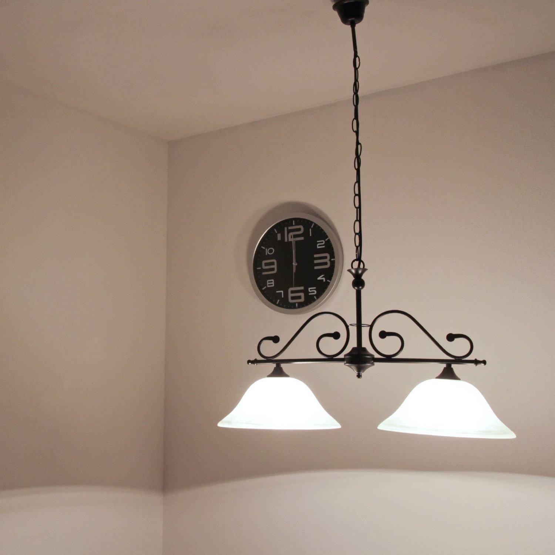 Rustikale Hängeleuchte in mattschwarz weiß inkl. 2x 12W E27 E27 E27 LED 230V Pendelleuchte aus Satiniertes Glas & Metall Hängelampe für Wohnzimmer Esszimmer Pendellampe Lampen Leuchte innen 4f48f3