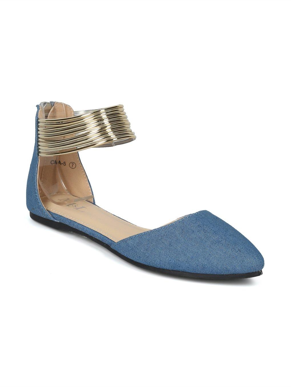 Alrisco Women Pointy Toe Dorsay Strappy Ankle Cuff Flat HH85 B07D2XNN6F 9 B(M) US|Denim
