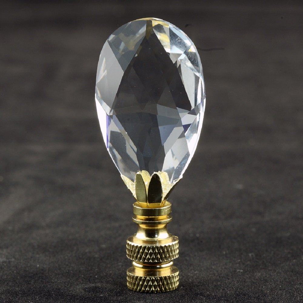 Swarovski Crystal Lamp Finial (Teardrop) with Polished Brass Base - 2.75 Inches High