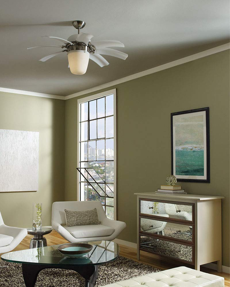 Monte Carlo 8ATR44BSD-L, Airlift Brushed Steel 44 Ceiling Fan w Light Wall or Remote Ctrl