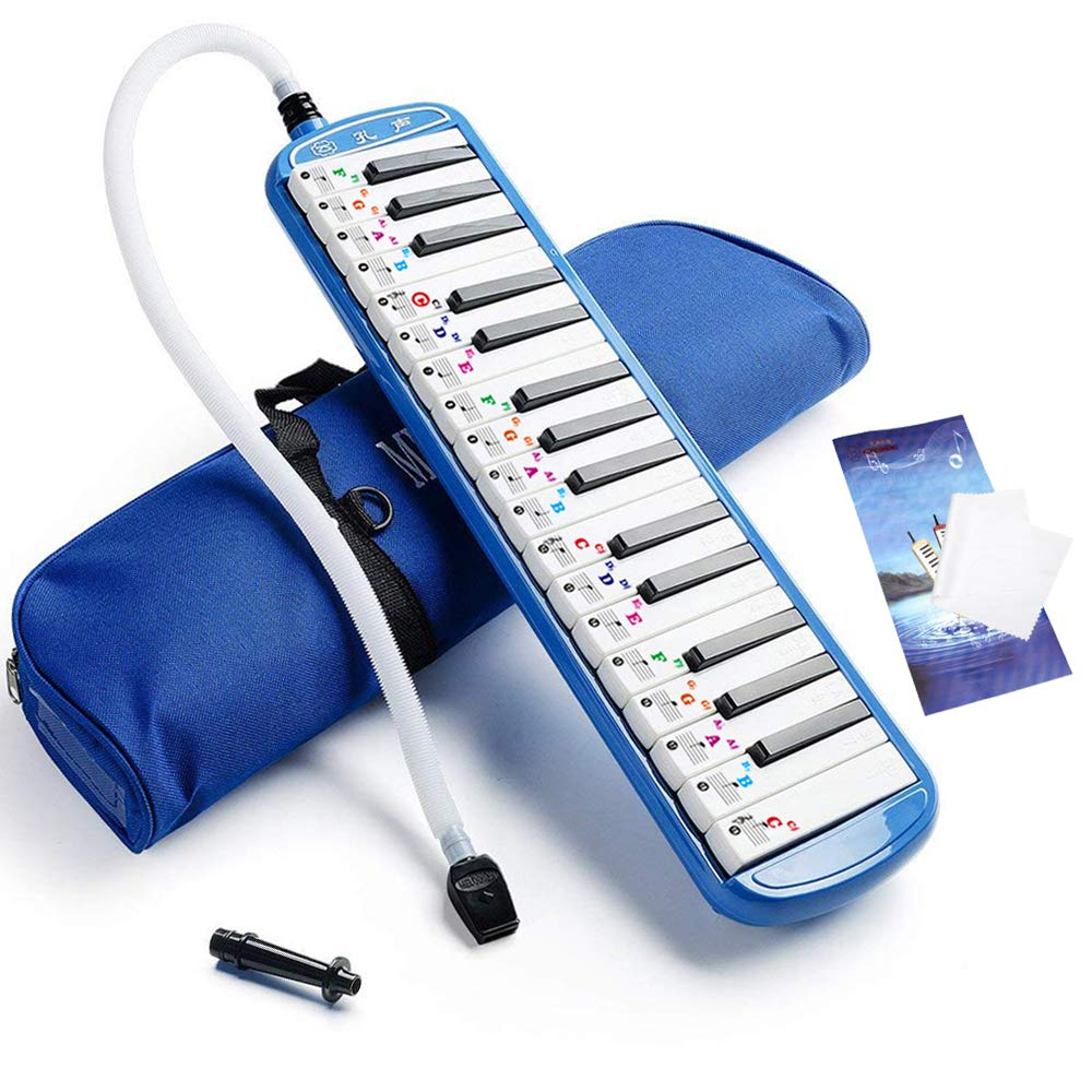 Vangoa Blue 32 Key Portable Melodica With Melodica Sticker, Carrying Bag for Music Lovers Beginners Gift