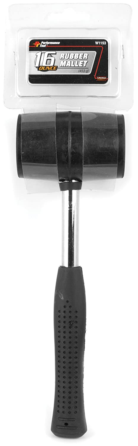 Performance Tool 1129 Wood Handle Rubber Mallet 8 oz