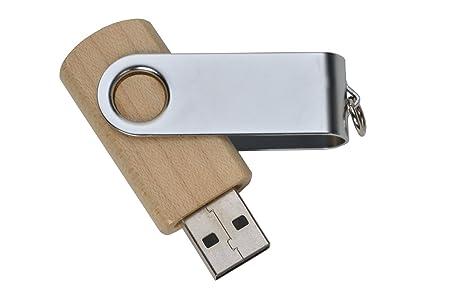 aricona 2 GB USB Stick Holz & Metall - Design Ahornholz - 2.0 Flash Speicher mit Schlüsselanhänger Key – coole Memory Sticks