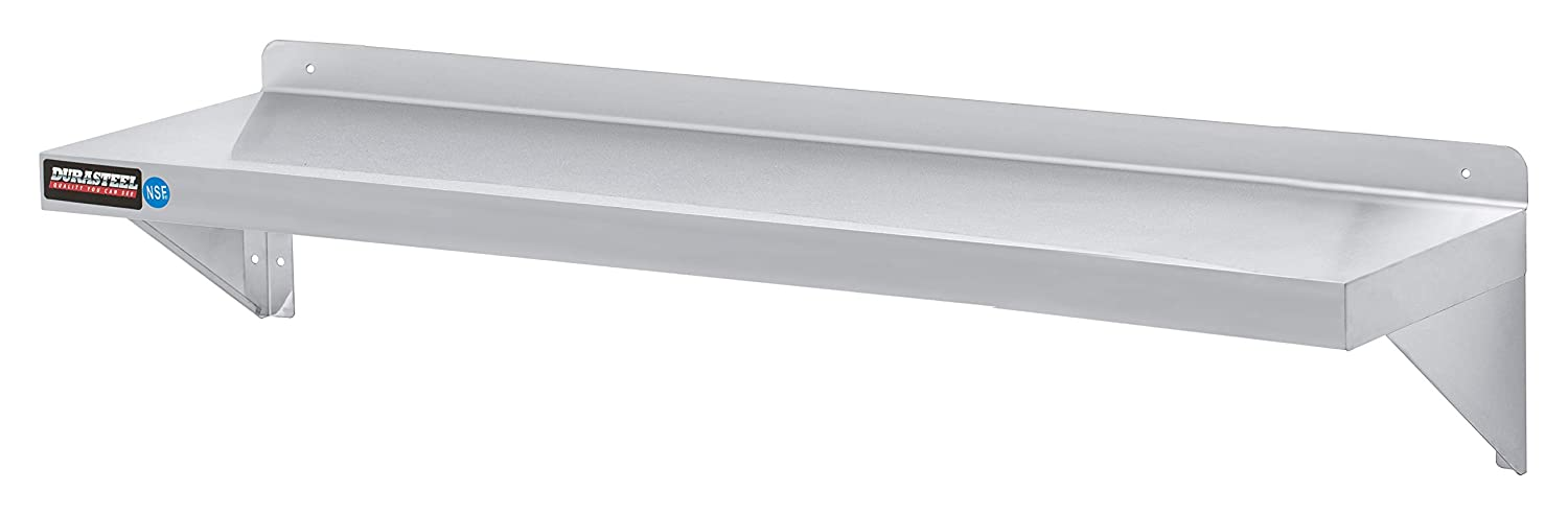 """Stainless Steel Wall Shelf by DuraSteel - 60"""" Wide x 12"""" Deep Commercial Grade - NSF Approved - Industrial Appliance Equipment (Restaurant, Bar, Home, Kitchen, Laundry, Garage and Utility Room)"""