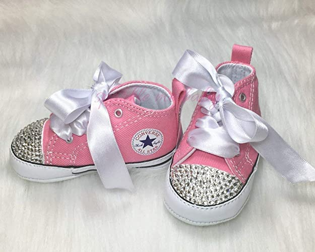 7fb2117aef19 Amazon.com  Bling Baby Authentic Crib Shoes in Pink plus MORE Colors NOW ~ Infant  Sizes ~ Customized for you by Sparkle Me Baby 2u  Handmade