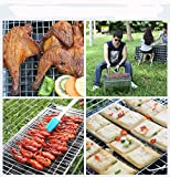 Nonstick BBQ Grilling Basket Portable Stainless Steel Grill Basket Folding for Roast BBQ Barbecue with Removable Wooden Handle