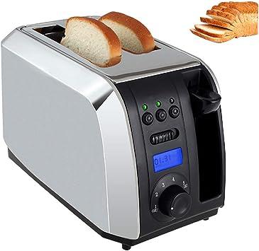 Opinión sobre Bread Toaster Grill 1000 (W), con LCD LCOD, Perilla de Ajuste de Cinco velocidades, 28 * 17 * 18 cm, diseño de Muesca Ancha, Base de enfriamiento Antideslizante, Plateado