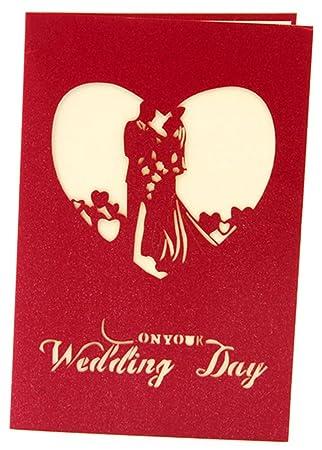 Hestio 3D Pop Up Grußkarte Sweet Lovers Girlande Einladung Hochzeit Karten  Rot