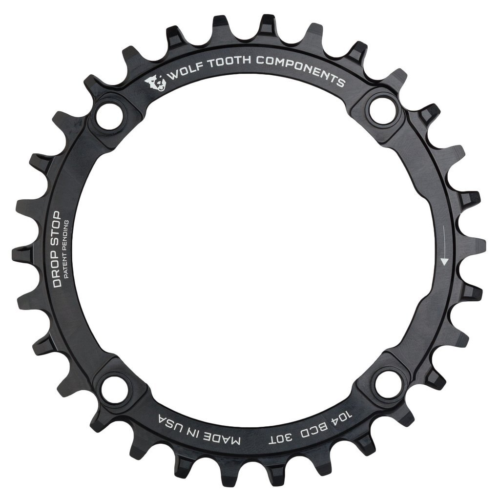 Wolf Tooth Components Drop Stop Chainring Black, 34T/104 BCD by Wolf Tooth Components