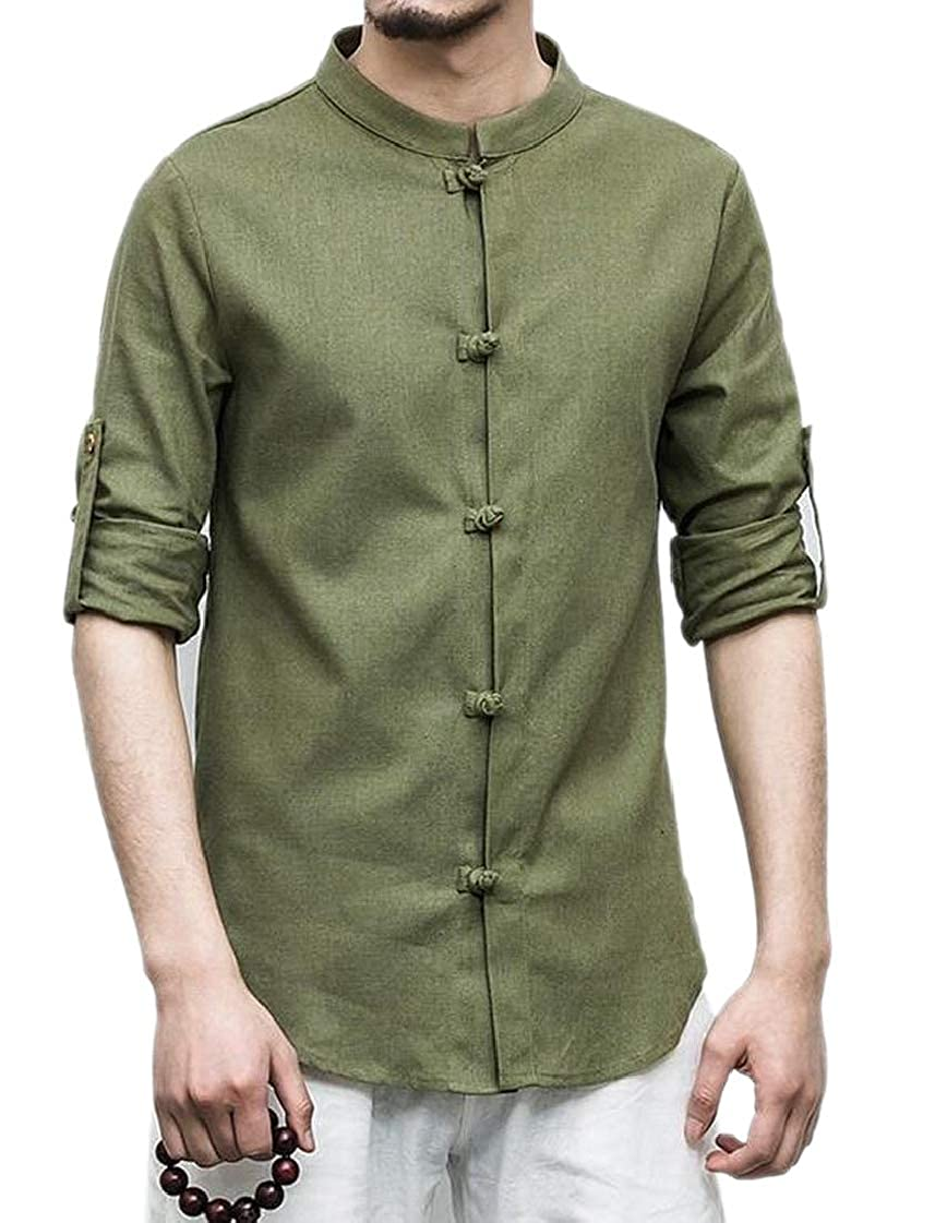 M/&S/&W Men Short Sleeve Banded Collar Solid Linen Loose Shirts