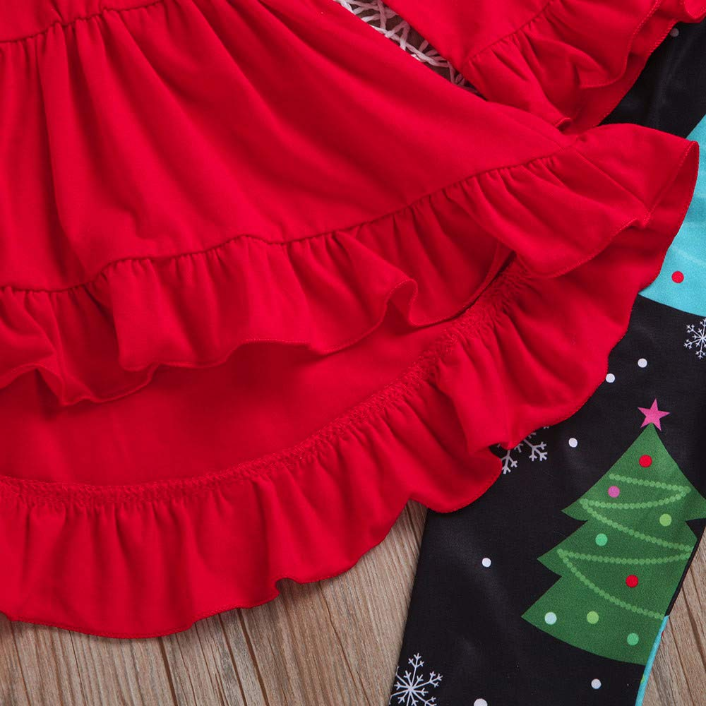 Baby Girl Christmas Set Infant Little Girl Xmas Trees Dresses Print Pants Scarf Clothing Sets for 0-5 Y TM Jchen