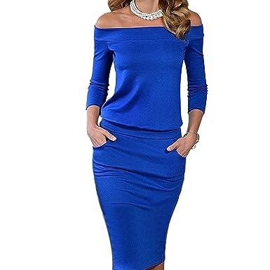 976479a752222 YiLianDa Women's Sexy Long Sleeve Boat Neck Midi Bodycon Off Shoulder Wrap  Dress Blue 2XL