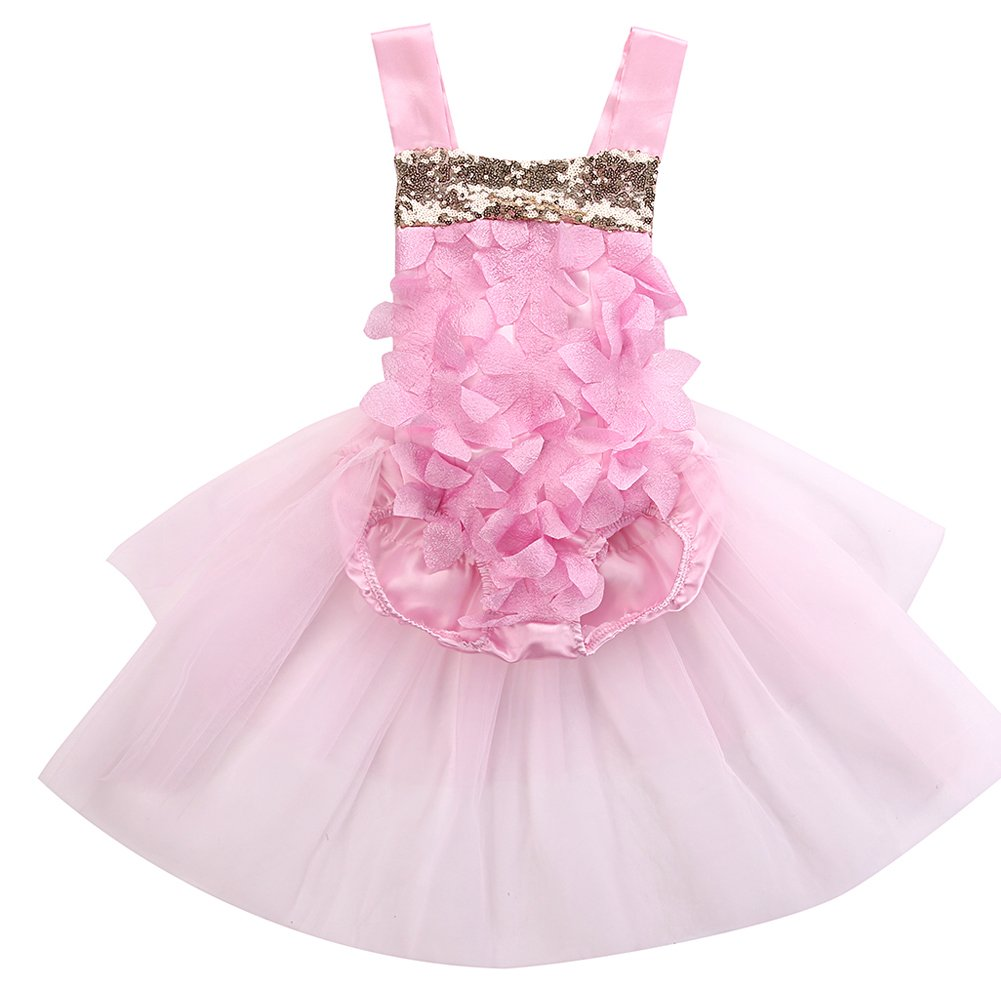 ONE'S Baby Girls Floral Backless Bodysuit Romper Tutu Birthday Princess Dress Outfits