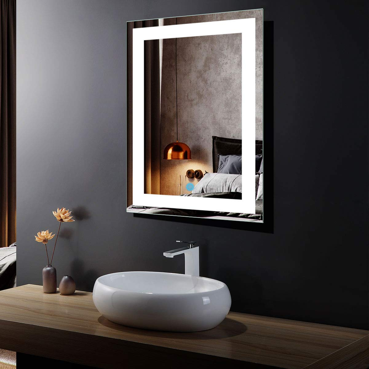 DP Home 24'' LED Lighted Illuminated Bathroom Vanity Wall Mirror with Touch Sensor, Vertical Rectangle White Mirrors 24 x 32 in E-CK010
