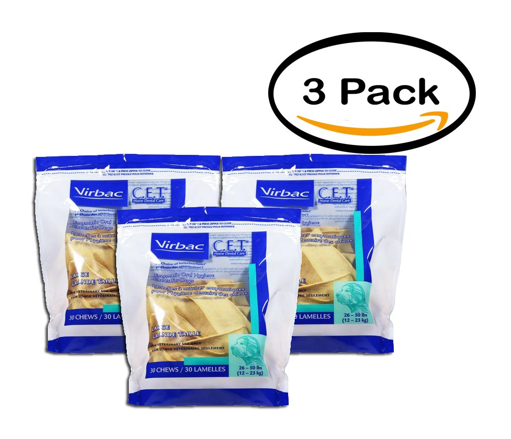PACK OF 3 - Virbac C.E.T. Enzymatic Oral Hygiene Chews Large Dog 30 Count by CET