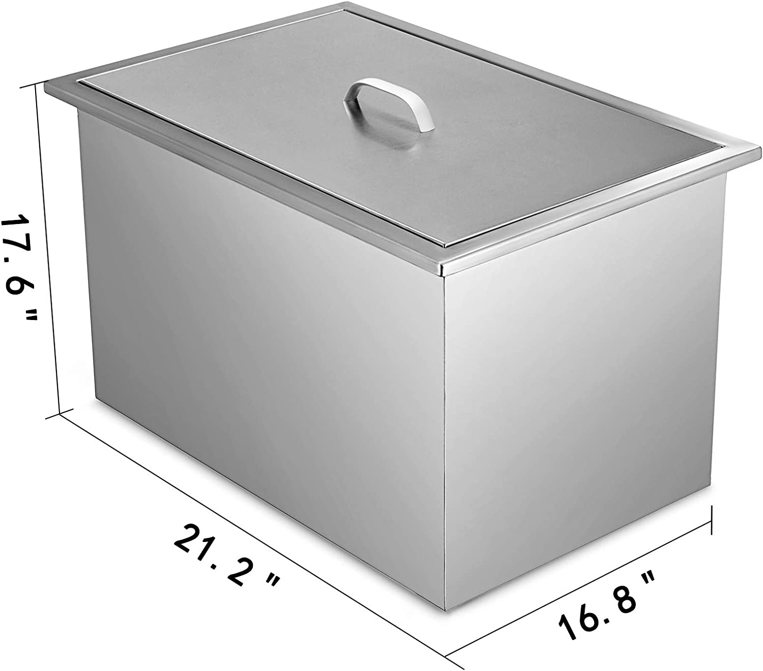 """20.6/""""x13.6/"""" BBQ Island Stainless Steel Drop in Ice Chest//cooler W//Drain Valve"""