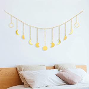 Moon Phase Wall Art Hanging - Gold Moon Phases Banner Wall Art Garland with Chains Boho Wall Decor for Bedroom Living Room Decor Apartment Dorm Office Bohemian Decor Home Decorations