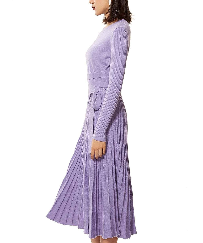 RanRui Womens Sweater Dress Cashmere Winter Fall Midi Dress Pleated Big Hem with Bow tie Belt
