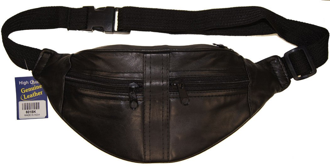 Joggers Leather Waist Fanny Pack Belt Pouch Travel Hip Purse Men Women Black