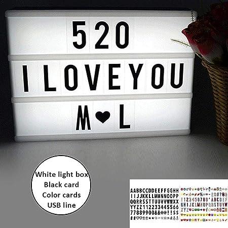 Cinématique lettre mariage fête d/'anniversaire décoration cadeau A4 boîte à lumière led signe