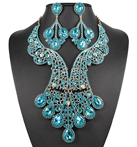 Janefashions Peacock Teal Austrian Rhinestone Crystal Statement Necklace Earrings Set N820t