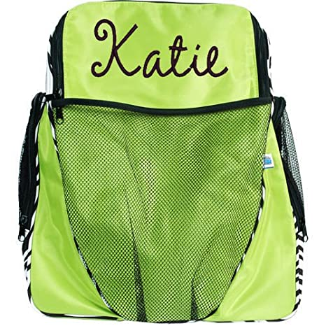 c2f6f7987c66 Threadart Personalized Monogrammed Embroidered Kids Girl Athletic Backpack  - Lime Green Zebra
