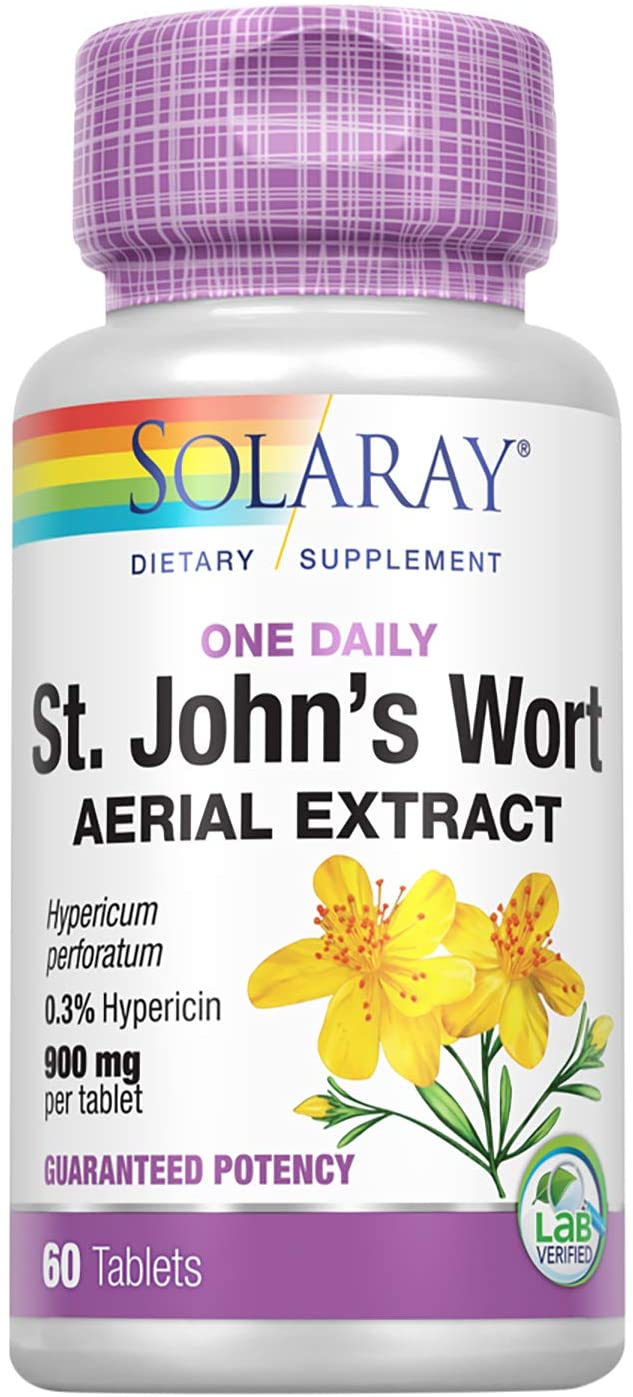 Solaray St. Johns Wort Aerial Extract One Daily 900mg | Standardized w/ 0.3% Hypericin for Mood Stability & Brain Health Support | Non-GMO | 60 Ct: Health & Personal Care