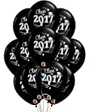 """Class of 2017 Graduation 11"""" Black Latex Balloons - Pack of 12"""